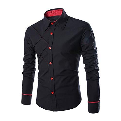 Shirt Herren Tops Herren Slim Fit Stehkragen Mode Casual Button Langarm Frühling Und Herbst Leichte Komfortable Boutique Herren Geschäft Hemd A-Black XL