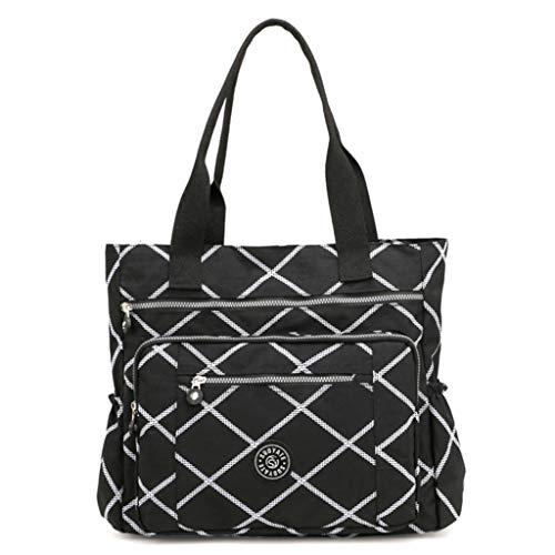 Fueerton Women's Casual Multi-Pocket Waterproof Nylon Top-Handle Shoulder Travel Handbags, (Large Square), 38cm * 12cm* 38cm