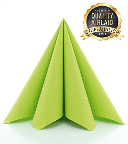 Prime Guest Servietten GRÜN | Premium Edition für Hochzeiten und Feiern Airlaid | stoffähnlich | 50er Packung | 50 Stück | 40 x 40 cm | ¼ Falz