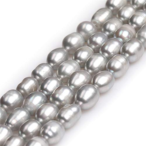 Sweet & Happy Girl's store 8-9x9-10mm Ei-Form Creme Wei? Zuchtperlen Perlen Strang 15 Zoll Schmuckherstellung Perlen