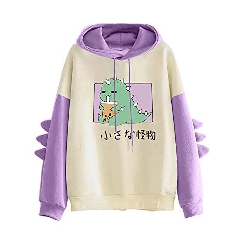 Pianshanzi Dino Kawaii - Sudadera con capucha para mujer, para otoño e invierno, diseño de caricatura japonesa con capucha, manga larga, A violeta., M