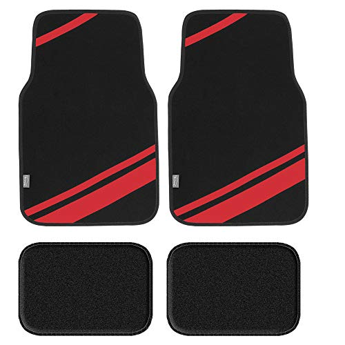 FH Group F14501RED Universal Fit Carpet Floor Mats Full Set (with Faux Leather for Cars, Coupes, Small SUVs)