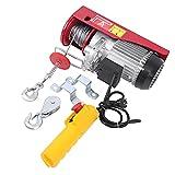 Samger Polipastos Electricos 220V Cabestrante Eléctrico 300/600KG 1200W Elevador Electrico con Mando a Distancia y Cable para el Hogar, Taller, Garaje