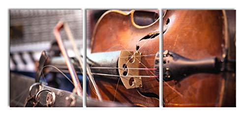 oude vioolXXL canvasbeeld 3 deel | 180x80cm volledige maatregel | Wanddecoraties | Kunstdruk