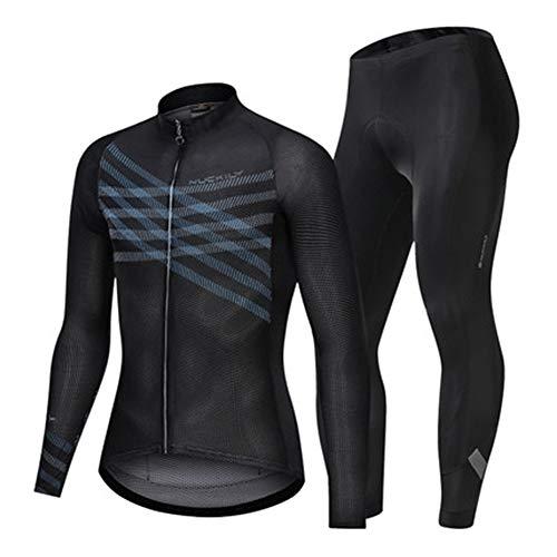 CJF fietsshirt voor heren, volledige ritssluiting met lange mouwen, ademende fietsbroek, met siliconen ponsmatten, voor buiten rijden