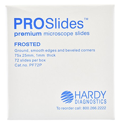 ProSlide Microscope Slides, Frosted, Premium, 3x1 Inches x 1mm, 72 per Box, by Hardy Diagnostics