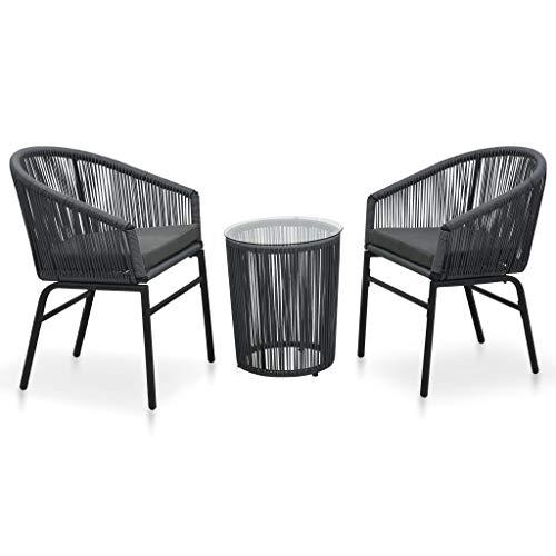 vidaXL Set Muebles de Jardín 3 Piezas y Cojines Exterior Conjunto Aire Libre Balcón Asiento Comedor Restaurante Ratán PVC Gris Antracita