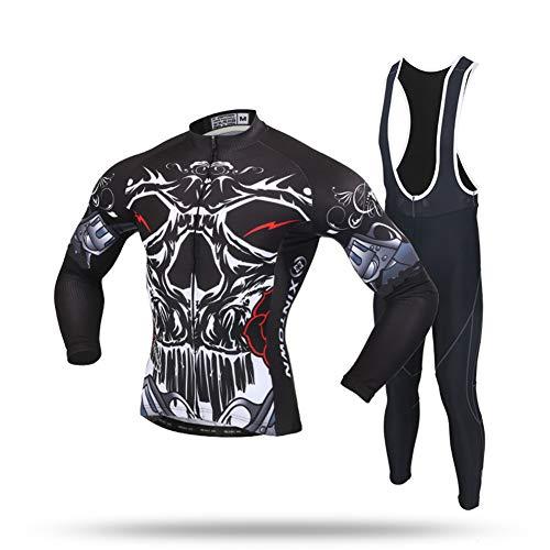 XYHLM Ropa De Ciclismo, MTB Invierno Hombre Camisetas De Ciclismo Manga Larga Y Mallas con Pechera Hombre Trajes De Ciclismo,002,L