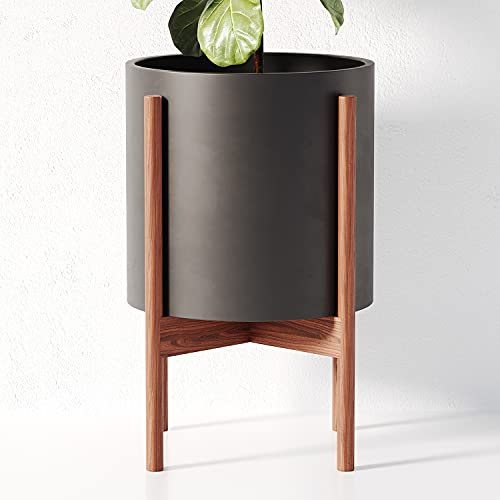 OMYSA Mid Century Plant Stand with Pot Included (10') - Black Ceramic Planter with Stand - Large Indoor Planter Pot for Plants, Trees & Flowers - 6 Colors (White, Black, Peach, Blush, Sage, Cream)