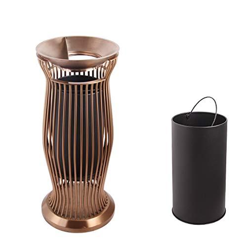 NYKK Cubos de Basura para Exterior Al Aire Libre/Papelera de Interior Puede Acero Inoxidable Cenicero al Aire Libre Vertical Colilla Humo Bin Reciclaje de Residuos
