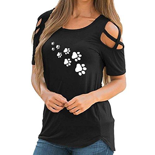 Damen T-Shirt FORH Schön Drucken Tops Schulterfrei Kurzarm Shirt Sommer Oberteil Blusen Mode Frauen Weste Rundkragen lässige Tops Hemd Slim Unterhemd (L, Schwarz A)