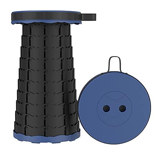 Taburete telescópico portátil, para acampar al aire libre, pesca, senderismo, taburete es ajustable en altura y fácil de llevar, carga máxima de 254 kg (azul)