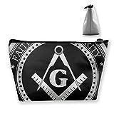 Bolsa de maquillaje de viaje Masonic Faith Hope and Charity Freemason Logo negro bolsa de maquillaje neceser organizador de embrague con cremallera para mujeres y hombres