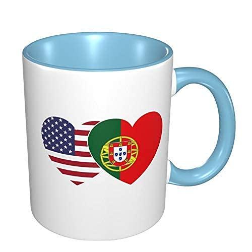 N\A Taza de café de Porcelana de corazón Gemelo con Bandera de Portugal, Tazas Coloridas con Mango de cerámica para Capuchino, té, Cacao y Cereales, Azul Cielo