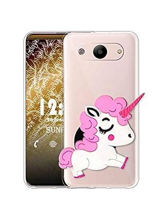Sunrive Funda para Samsung Galaxy J5 (2016), Silicona Transparente Gel Carcasa Case Bumper Anti-Arañazos Espalda Cover Anillo Kickstand(Unicornio Rosa) + 1 x Lápiz óptico