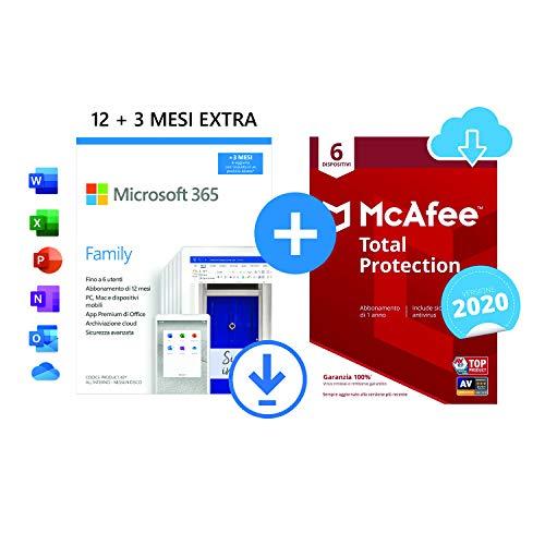 Microsoft 365 Family   fino a 6 persone   1 abbonamento annuale  12+3 Mesi   PC/Mac   Codice via email + McAfee Total Protection 2021   6 Dispositivi   1 Utente, 1 Anno   PC/Mac   Codice via email