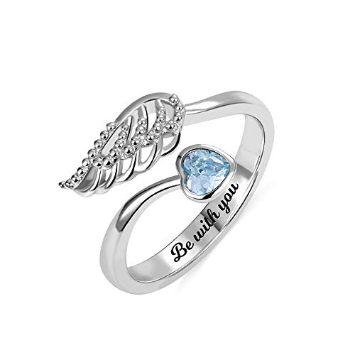 Getname Necklace Personalized 'Forever by My Side' Angel Wing Ring Sterling Silver 925 for Her Wedding Band Ring Engagement Ring