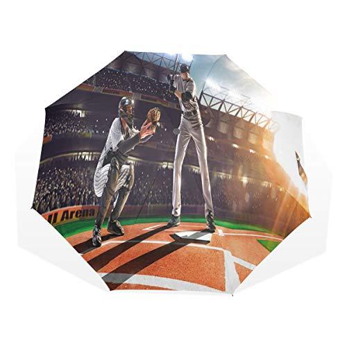 LASINSU Regenschirm,Professionelle Baseballspieler im Stadion Spielen Pich Sports Print,Faltbar Kompakt Sonnenschirm UV Schutz Winddicht Regenschirm