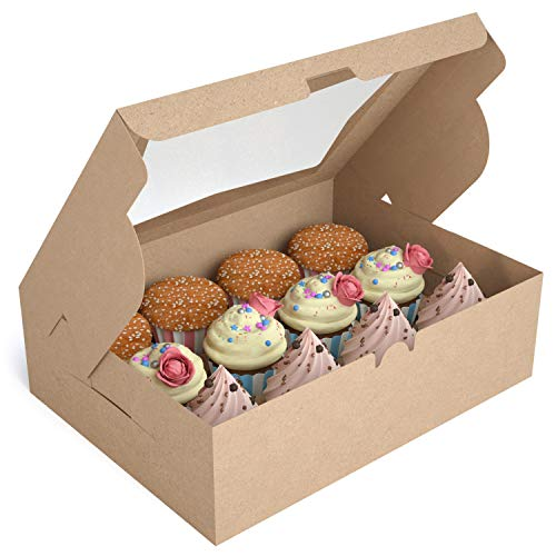 X-Chef Cupcake Boxes 12 Count, Cupcake Carriers, Food Grade Kraft Bakery Boxes with 12 Removable Inserts and Display Windows, Disposable Cupcake Holders for Muffins, 12 Packs
