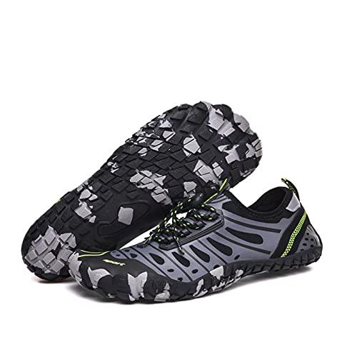 MHXQD Zapatos De Agua De Secado Rápido Hombres Mujeres Respirable Zapatos Descalzos para Nadar Buceo Surf Deportes Acuáticos Piscina Playa Caminar Yoga Nadar Kayak,Gris,41
