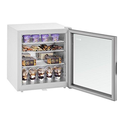 Royal Catering Mini Arcón Congelador Profesional RCFZ-W88L (88 L, Puerta de cristal aislante, Iluminación LED, Cerradura, Temperatura - 7 bis - 24 °C, incl. Cesta, Rejilla de separación)