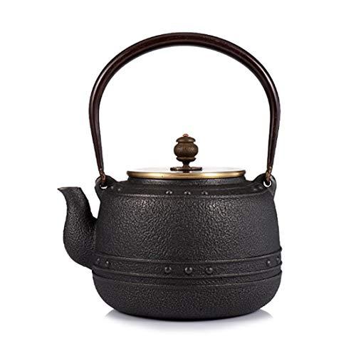 Tea Pot, Small Vintage Cast Iron Tea Kettle, Handmade Easy Pour Tea Maker for Party Office Home, 1.2L