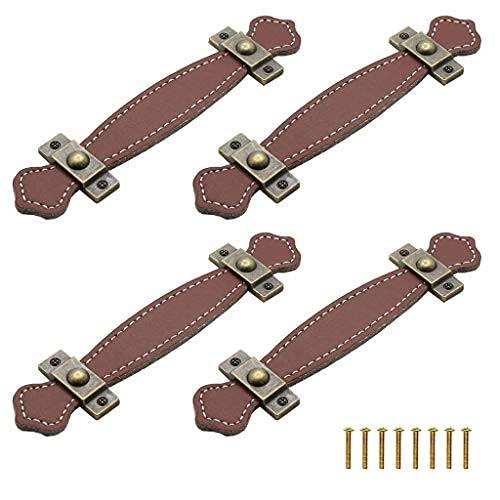 4 tiradores de puerta de cuero para puerta con doble agujero para gabinete, tiradores de gabinete de cocina, armario y cajones