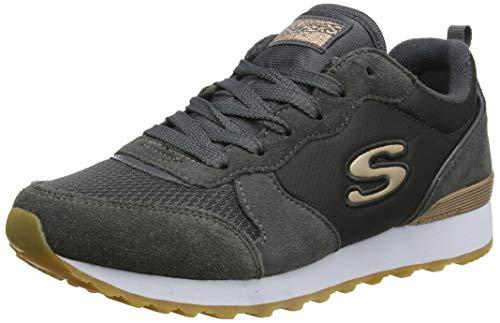 Skechers Women's RETROS-OG 85-GOLDN GURL Trainers, Grey (Charcoal Suede/Nylon/Mesh/Rose Gold Trim Ccl), 2 (35 EU)