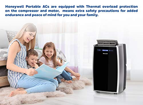 Honeywell MN14CCS Portable Air Conditioner with Dehumidifier, Fan with Remote Control & Advanced LCD Display Cools Rooms Up to 550-700 Sq. Ft, Black/Silver