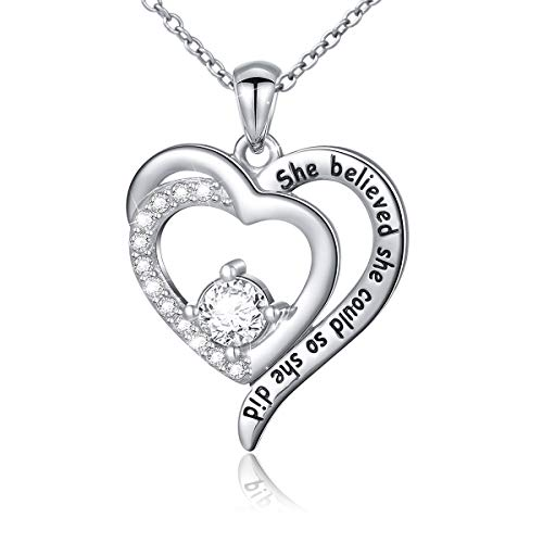 Flyow Women Girls Heart Necklace 925 Sterling Silver Dancing Ballet Girl/Cubic Zirconia Inspirational Pendant Engraved'She Believed She Could So She Did', 18 Inches (Cubic Zirconia Heart)