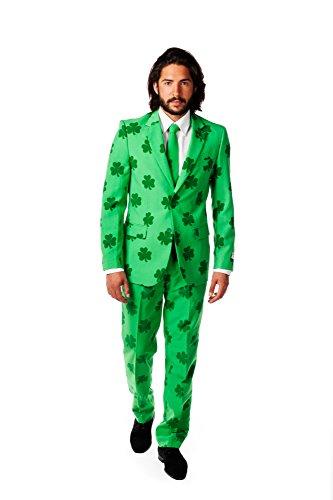 OppoSuits St. Patrick Anzug für Herren - Mit Jackett, Hose und Krawatte mit Festlichen Print - EU54