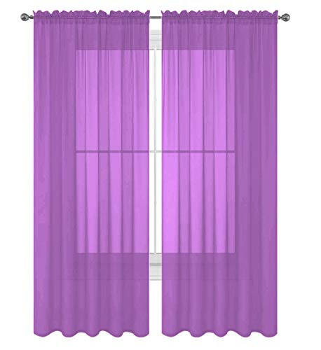 "Luxury Discounts 2 PC Solid Rod Pocket Sheer Window Curtain Treatment Drape Voile Panels in Variety of Colors (55""X63"", Lilac)"