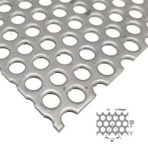 304 Stainless Steel Perforated Sheet Expanded & Perforated Sheets Perforated Metal Sheet Steel-Stainless Industrial Metal Sheets Hole Size 3mm Stagger 4.8mm 100mmx300mmx1.3mm