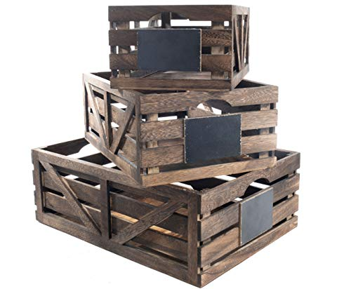 Premium Home Wooden Crates: Home Décor wood crates for display, wooden boxes for crafts, decorative wooden crate, Wood box storage crate, wooden basket centerpieces for Home, Rustic bathroom décor