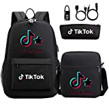 FEIFEI Unisex TIK Tok Backpack, Laptop with USB Port And Casual Backpack for Men And Women Fashion Youth Backpack, School Bag Shoulder Bag + Pencil + Small Three-Piece Set