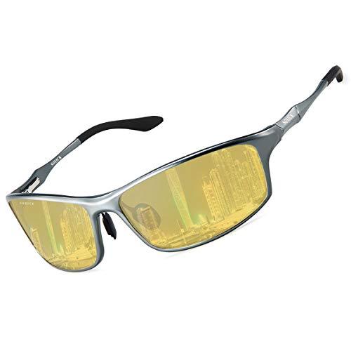 夜用 サングラス ドライブ 偏光レンズ イエロー 夜釣り/夜間運転/雨天用 超軽量 紫外線カット 自転車/野球/テニス/スキー/ランニング/ゴルフ 運動メガネ ナイトドライブ ナイトドライビングサングラス 6128-3