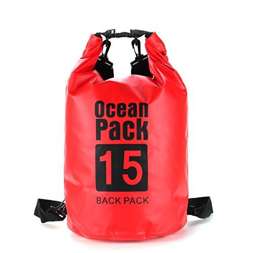 FEIYI Bolsa seca para camping, 6 tamaños, 2/5/10/15/20/30L, impermeable, bolsa seca para kayak, canoa, camping, al aire libre, bolsa de almacenamiento, color rojo (color: rojo, tamaño: 10L)