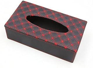 eDealMax Rojo Negro coche del rectángulo de imitación de Cuero del Tejido sostenedor de la caja