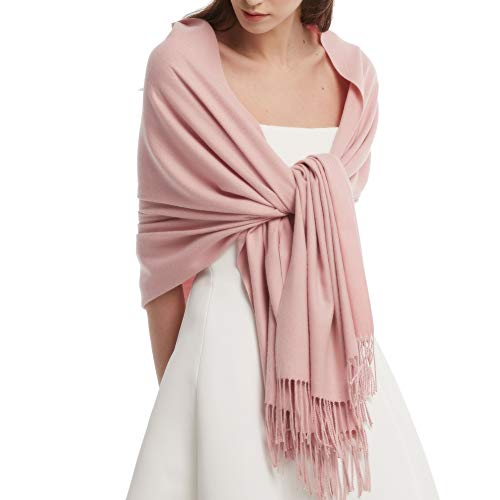 Womens Winter Scarf Cashmere Feel Pashmina Shawl Wraps Soft Warm Blanket Scarves for Women (One Size, Baby Pink)