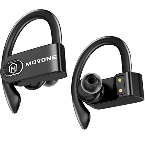 MOVONE True Wireless Earbuds Sport Bluetooth Headphones with Wireless Charging Case Premium Deep Bass Earphones Over Ear Hooks 32hrs Playtime in Ear with Built in Mic Headset USB C for Workout Running
