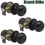 Probrico Oil Rubbed Bronze Door Lock Handles Keyed Alike Entry Entrance Round Shape Door Knobs Lockset (3 Pack)