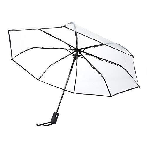 Ombrelli Pioggia Trasparente Pieghevole Portatile Tri-Fold Ladies Fashion Umbrella Nero/Rosa(Nero)