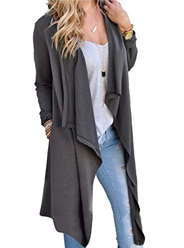 SwissWell Damen Strickjacke Cardigan Pullover Blazer Oberteil Open Front Jacke Mantel Langarm Loose mit Taschen Grau M