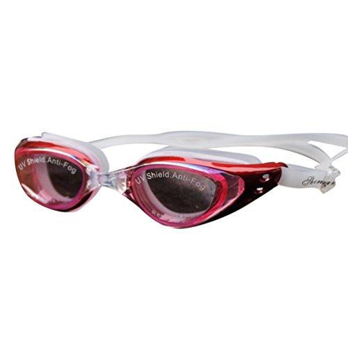 Tookang Kurzsichtigkeit Schwimmbrille (150 Bis 800) Kurzsichtig Anti-Beschlag Wasserdicht UV Schutzbrille Für Kurzsichtige Männer Frauen Und Jugend Schwimmer Rot#9 (4.1/-550)