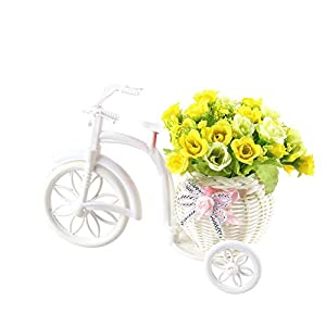PERZOE Faux Rose Rattan Artificial Flower Tricycle Creative for Desktop Store Showcase Party Decor Yellow