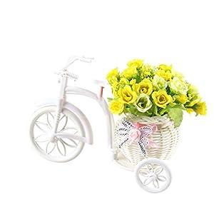 Homeofying – Maceta de ratán con flores artificiales, diseño de triciclo, para escritorio, escaparate o decoración de…
