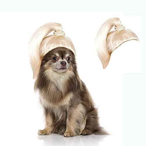 AHURGND Peluca de Perro de Perro Peluca Rubia de Peluca, Peluca Linda del Animal doméstico, Peluca de Traje de Gato de Perro, excelente Regalo para su Encantadora Mascota Durante (Color : 1)