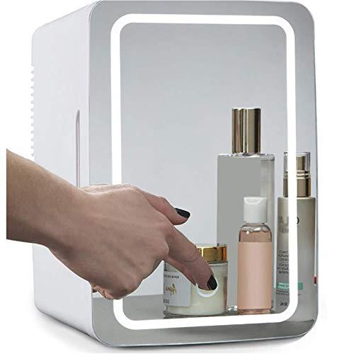 8 litros de belleza Mini Nevera, 2 en 1 maquillaje espejo Cuidado de la Piel Cosméticos Nevera con luz LED, Compacto refrigerador portable más cálido, Mini refrigerador para el dormitorio, oficina, do