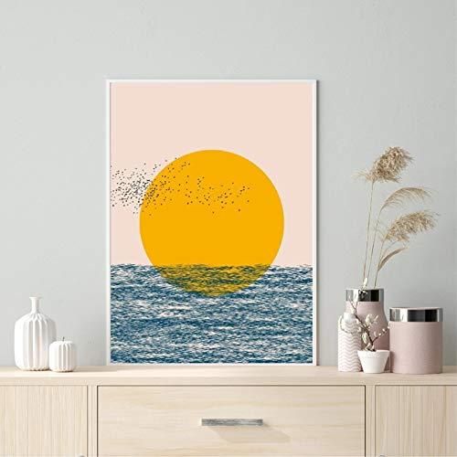 Ocean Abstract Print Sonnenuntergang Tropical Birds Poster Zeitgenössische Wandkunst Leinwand Malerei Bild Wohnzimmer Home Decor Kunstplakat Muttertagsgeschenk 20x24 Zoll Rahmenlos
