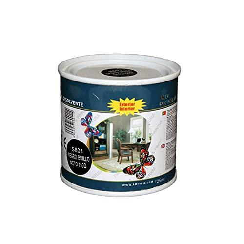Paintusa - Bote de pintura esmalte S801 color negro brillo 125 ml ideal para interior y exterior
